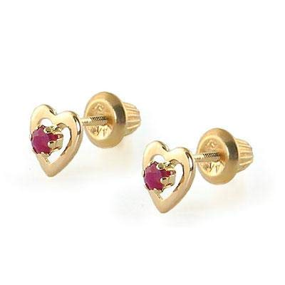 Kids 14K Yellow Gold Genuine Ruby Heart Stud Earrings - July Birthstone ()