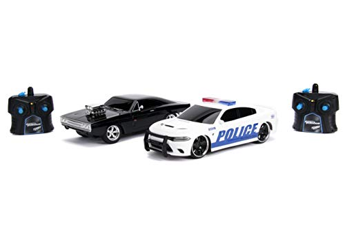 Jada Fast & Furious Chase Twin Pack- Dom's Dodge Charger R/T & Dodge Charger SRT Hellcat, Police & Chase Car Rc, USB… 1