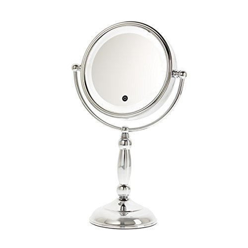 Danielle Creations Touch Button Led Lighted Chrome Mirror With Dimmer  10X Magnification