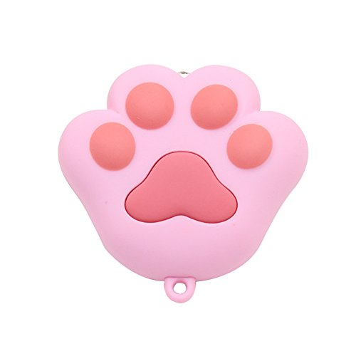 preliked Cute Cat Paw LED with Sound Keychain Keyring Car Bag Charm Pendant Decor (Pink)