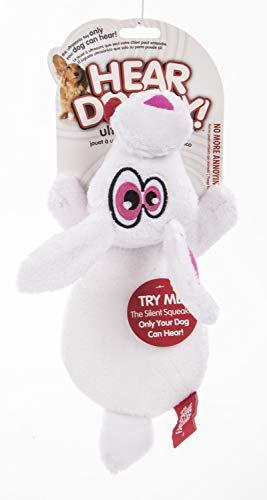Hear Doggy Flattie White Rabbit Ultrasonic Silent Squeaker Dog ()