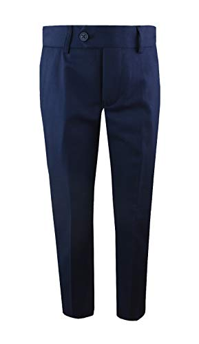 (Black n Bianco Boys' First Class Slim Fit Trousers Dress Pants Gently Tapered Flat Front - Presented by Baby Muffin (8, Navy))