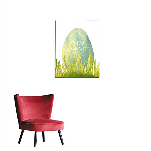 - longbuyer Wall Paper Hand-Drawn with Paints Pearly Grass and Blue Easter Egg Mural 16
