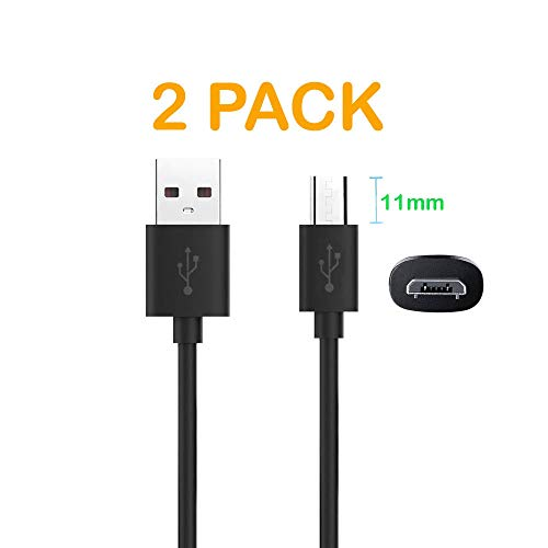 DGSUS 2Pack 3.3ft 11mm Extra Long Extended Tip Jack USB 2.0 Data Sync Fast Charge Charger Cable Cord (Male A to Micro B Male) for IP68 Waterproof/Ulefone Armo/Rugged Phone Black (2 Pack Cable)