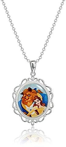 Disney Beauty and the Beast Belle Two Sided Stained Glass Pendant Necklace (Beast Jewelry)