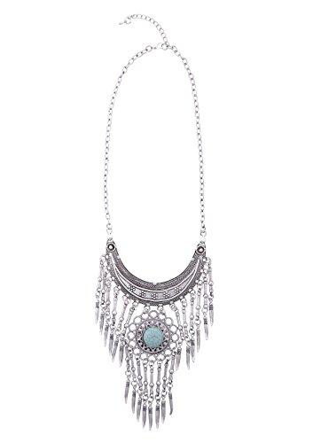 Bohemian Statement Necklace in Vintage Silver Color | Boho Fringe Necklace