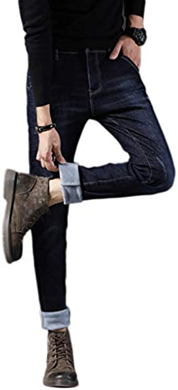 DZSRGY Teens Studenten Klassische Jeans College-beiläufige Denim Straight Leg Hose Fashion Comfort Plus Kaschmir Cotton Trend Hose: Sport & Freizeit