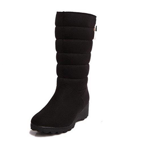 AllhqFashion Mujeres Sin cordones Mini Tacón Gamuza(Imitado) Tachonado Caña Media Botas Negro