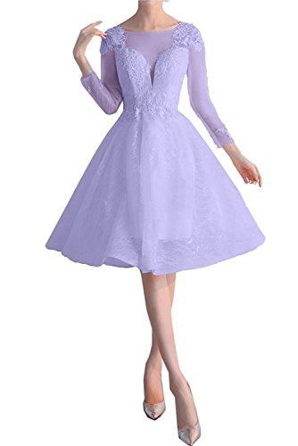 Partykleider Braut Lilac Knielang mia Langarm Cocktailkleider Ballkleider Kurz Abendkleider Damen La mit Rw87q4Oc