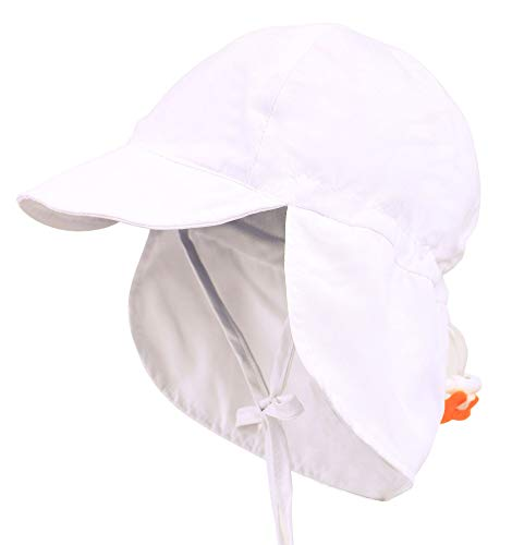 ThunderCloud Kids SPF 50+ UV Sun Protective Adjustable Baby Hat,White,S