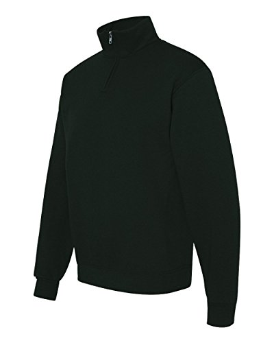 Jerzees Mens 995 Quarter-Zip Cadet-Collar Sweatshirt, Black, - Zip Quarter Pullover