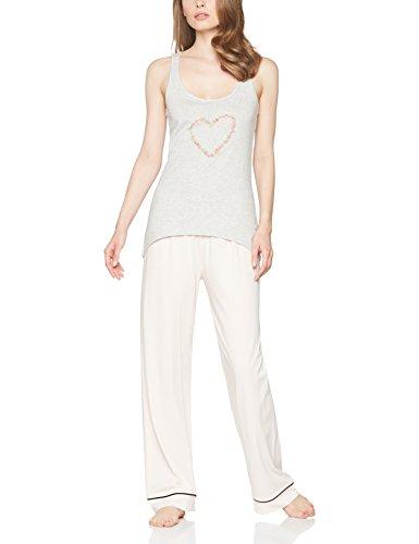 IRIS & LILLY Camiseta de Tirantes de Pijama con Estampado para Mujer Gris (Grey Melange)