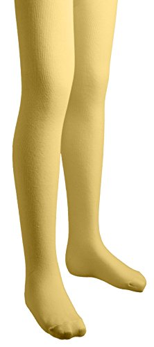 Sportoli Girls Flat Knit Cotton Hold and Stretch Footed Winter Tights - Mustard (size 10/12)