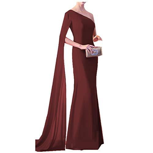 9d6466a7e092 Ruiyuhong Women's Sexy One Super Long Sleeve Evening Dress Burgundy Slit Evening  Gown(US4)