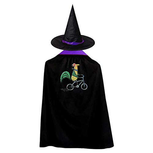 Cycling Chicken Kids' Witch Cape With Hat Cute Vampire Cloak For Halloween Cosplay Costume ()