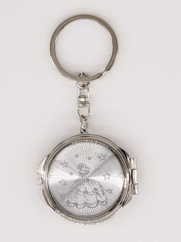 (12X Quinceanera SIlverCompact Mirror Keychain Recuerdos de Sweet 15 Princess Party Favor)