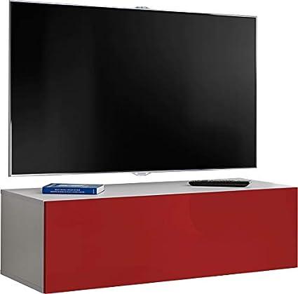 ExtremeFurniture T34-200 Mueble para TV Carcasa en Blanco Mate//Frente en Blanco Alto Brillo