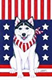 Cheap Siberian Husky – by Tomoyo Pitcher, Patriotic Themed Dog Breed Flags 12 x 18