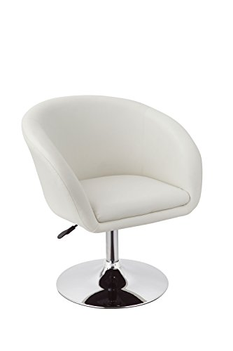 Duhome Jumbo Size Luxury PU Leather Contemporary Round Swivel Accent Chair Tufted Adjustable Lounge Pub Bar (White) (Club Leather Chair Swivel)
