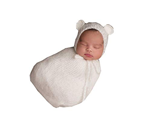 Pinbo Newborn Baby Photography Props Boy Girl Crochet Costume Outfits Cute Hat Sleeping Bag (White)
