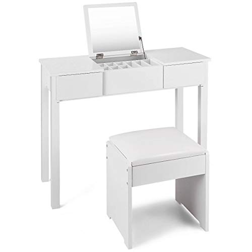 """Ploywipada Takes up only a Little Space Makes Your Life Convenient,Vanity Dressing Table Set Bedroom Decor Walk-in Closet Beauty Corner Great for Small Space, Apartment and Dorm 35.5""""x 16""""x 29.5"""""""
