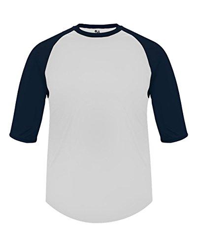 Baseball Undershirt White (Adult Large White with Navy Sleeves Raglan 3/4 Baseball & Softball Undershirt/Jersey Top)