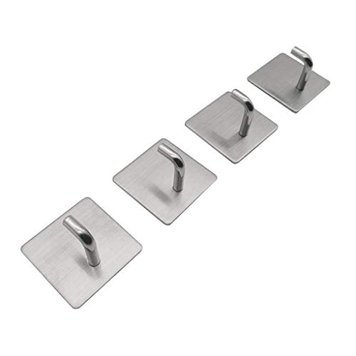 Kiorc Stainless Steel Towel Hooks/Bathroom Hook Self 4Pcs Wall Adhesive Hanging Hooks