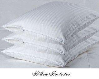 SET OF 2 - 350 Single Thread Count Long Staple, 100% Egyptian Cotton Sateen Pillow Protectors, Hidden Zipper to Keep Pillow Clean & Dust Free, Pillow Protector (Standard ( 20 x 28 ) Set of 2)