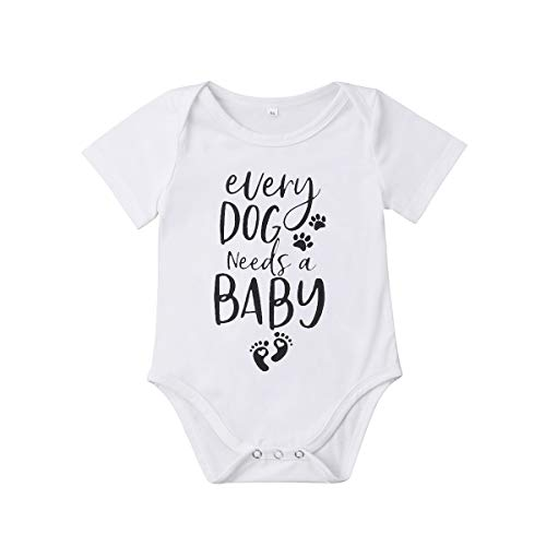 (Meipitgy Newborn Infant Baby Boy Girls Short Sleeve Letter Printed Bodysuit Romper Jumpsuit Clothes, White Infant Bodysuit (12-18 Months, Dog Saying))