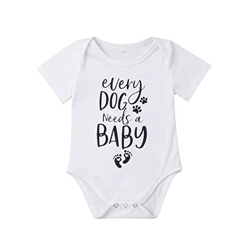 Meipitgy Newborn Infant Baby Boy Girls Short Sleeve Letter Printed Bodysuit Romper Jumpsuit Clothes, White Infant Bodysuit (12-18 Months, Dog Saying)