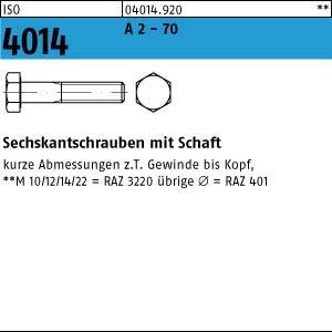 1 Edelstahl V2A Sechskantschrauben ISO 4014 A2 M10x220