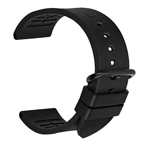 MAIKES Watch Band Fluoro Rubber Watch Strap Replacement Watchband with Stainless Steel Buckle, Sport Watch Bands 20mm 22mm 24mm (Band Width 24mm, Black+Black Buckle)
