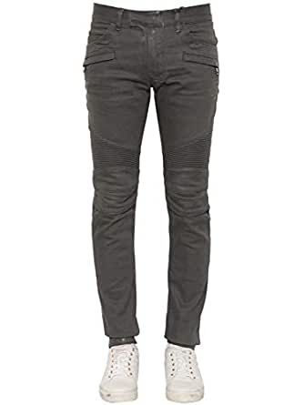 Balmain Biker Coated Stretch Denim Grey Authentic $1190 Jeans Size 36