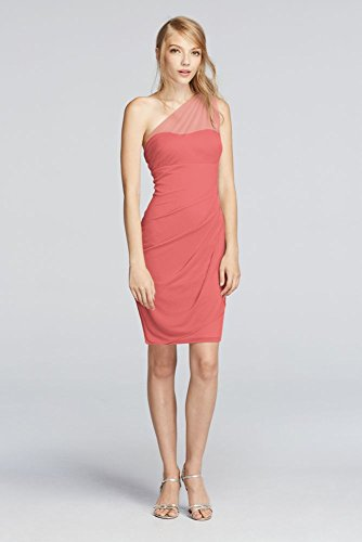 Mesh Short Illusion One Shoulder Bridesmaid Dress Style F19038, Coral Reef, 16