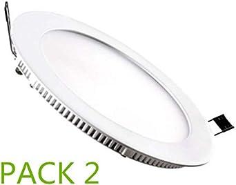 Placa LED Circular SuperSlim 12W (Pack 2) Downlight LED Blanco ...