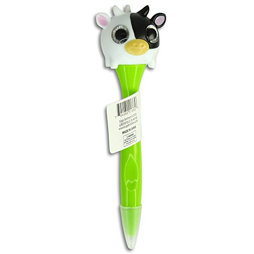 - Animal Glittery Pop-Out Eye Ballpoint Pens - Cow