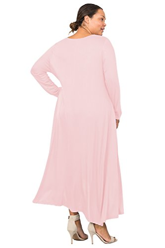 Love In D6190C-PX Long Sleeve Round Neck Flared Maxi Dress W/Pocket Blush 3X by Love In (Image #8)