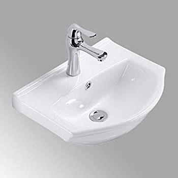 Image of Small Wall Mount White Bathroom Sink Single Faucet Hole And Overflow Space Saving Design Renovator's Supply Manufacturing Home Improvements