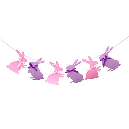 Amosfun Hanging Banner Decor Felt Rabbit Shaped Garland Banners Bunting Banner Party Supplies for Easter Birthday Gift Easter Party Festival