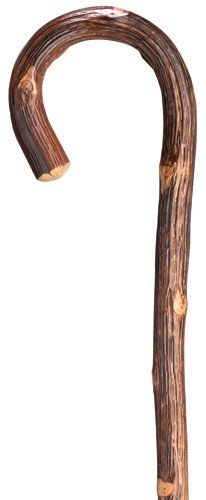 (Rustic Oak Natural Wood Crook Cane)