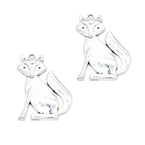 20pcs Vintage Antique Silver Alloy Animal Fox Charms Pendant Jewelry Findings for Jewelry Making Necklace Bracelet DIY 40x31mm (20pcs Fox) ()