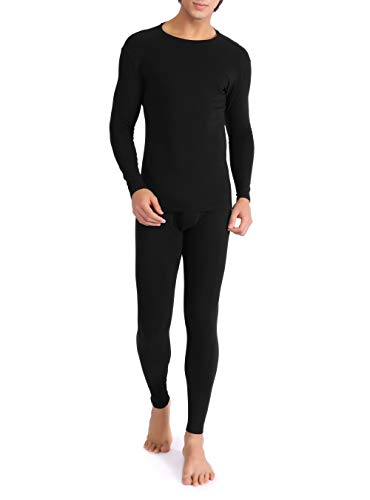 David Archy Men's Ultra Soft Warm Stretchy Cotton Fleece Lined Base Layer Top & Bottom Thermal Set Long John with Fly (M, Black)