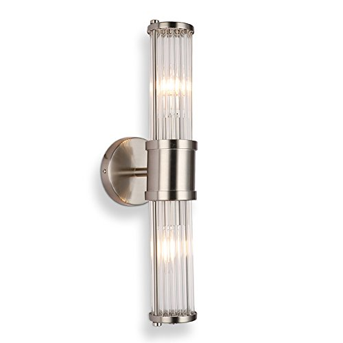 Glass Modern Sconce - ECOBRT 2-Lights Wall Light,Modern Glass Brush Nickel Sconces Lights Fixture UP and Down Silver Finish in Bedroom Decorative Sconces Lights Luminaire Fxitures E12 Bulbs not Included(Nickel 2-Lights)