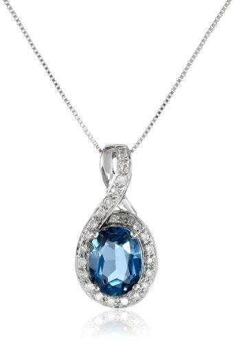Diamond Blue Topaz Oval pendant Lovely Pendants