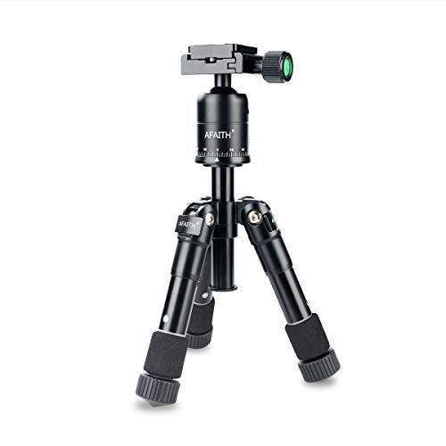 AFAITH 20 inches Tabletop Tripod, Lightweight Travel Tripod with 360° Panorama, 1/4 inches Quick Release Plate Desktop Macro Tripod Stand for Canon Nikon DSLR Camera ()