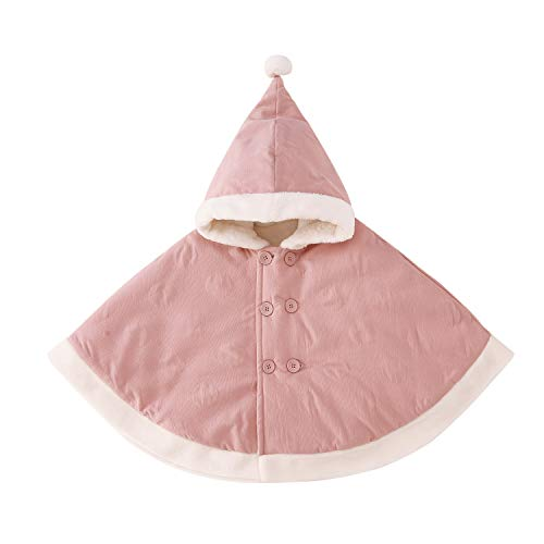 pureborn Baby Girls Hooded Poncho Cape Cloak Hoodie Coat Snowsuit Winter Outfit Pink 0-1 Year (Baby Cape Coat)