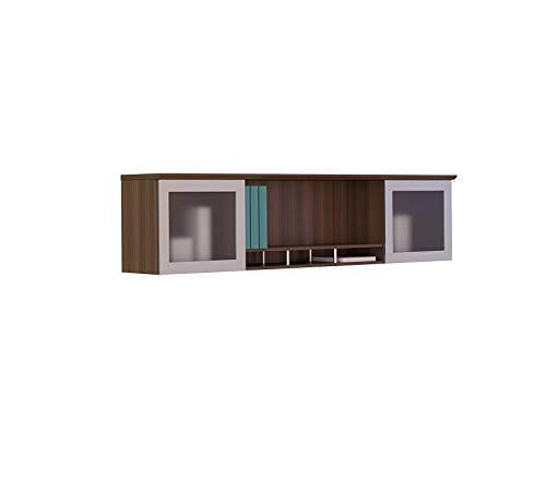 Mаylinе Grоup Medina 63W Hutch Cabinet with 2 Glass Doors, Textured Brown Sugar Laminate