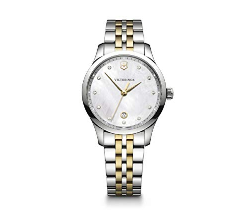 Victorinox Alliance Small Crystal White Mother of Pearl Dial Two Tone Ladies Watch 241831