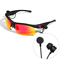 WoSports® S6 Bluetooth Sunglasses 4.0 Stereo Headset Headphone Polarized Glasses, Hand-free Phone Answer/Call Music Function with Smarthpone Iphone5s, 6 plus Samsung for Fishing Running All Outdoor Activities - Black