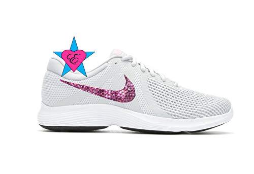 c239cc14f743f Amazon.com: Custom Pink Crystal Gray Pink Revolution 4 Running Shoes ...